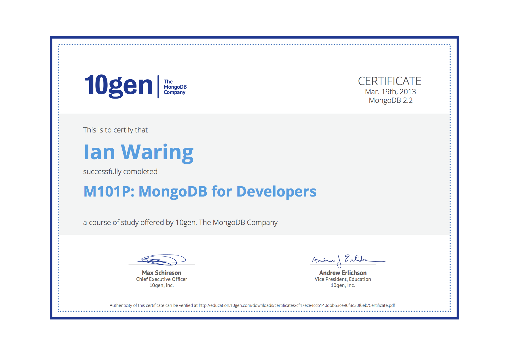 Stand back ive done the free online course ian waring mongodb for developers course certificate xflitez Image collections