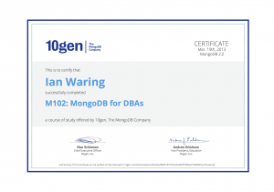 MongoDB for DBAs Course Certificate