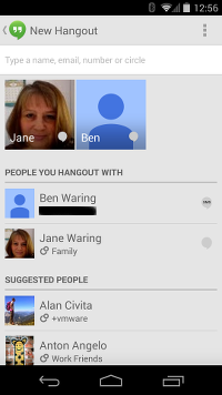Google Hangouts Second Screen