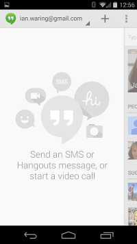 Google Hangouts Initial Screen