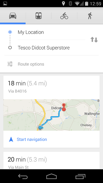 Google Maps Navigation Screen