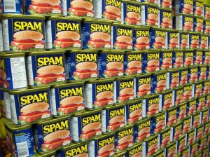 Picture of a Stack of Tins of Spam Meat