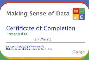 Google Making Sense of Data Course Completion Certificate