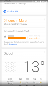 Google Now Walking Stats Screenshot